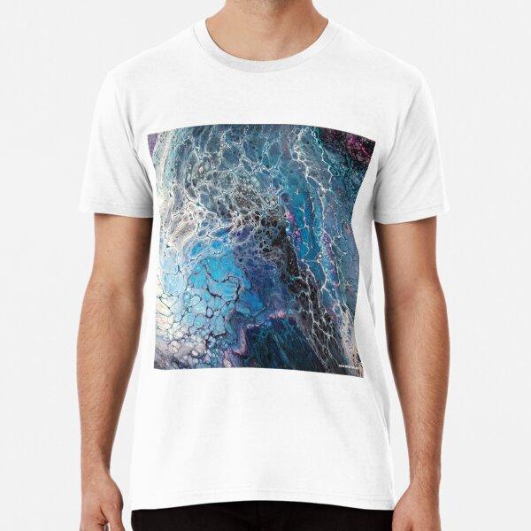 Blue Desire Fluid Pour Electric Electricity Acrylic Art Print Image Premium T-Shirt