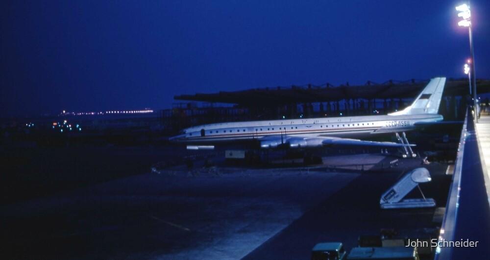 Tupolev Tu-114 Rossiya at night by John Schneider