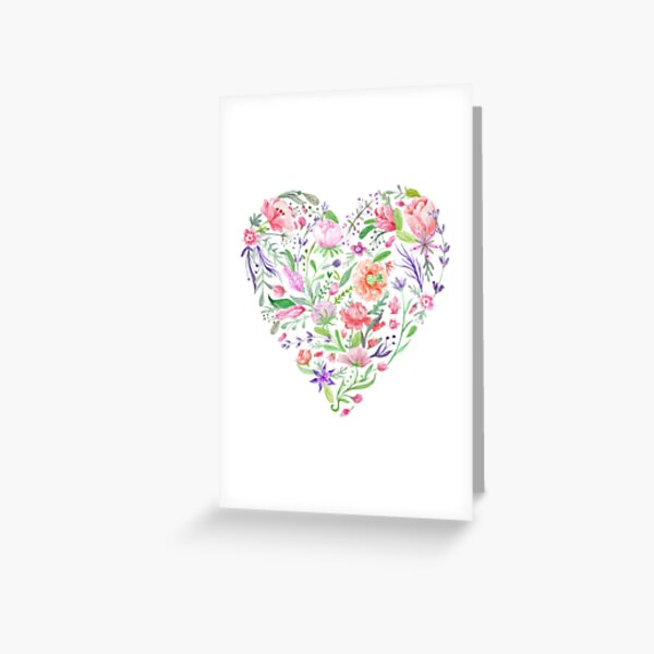 Heart of Summer Watercolor Floral Illustration Greeting Card