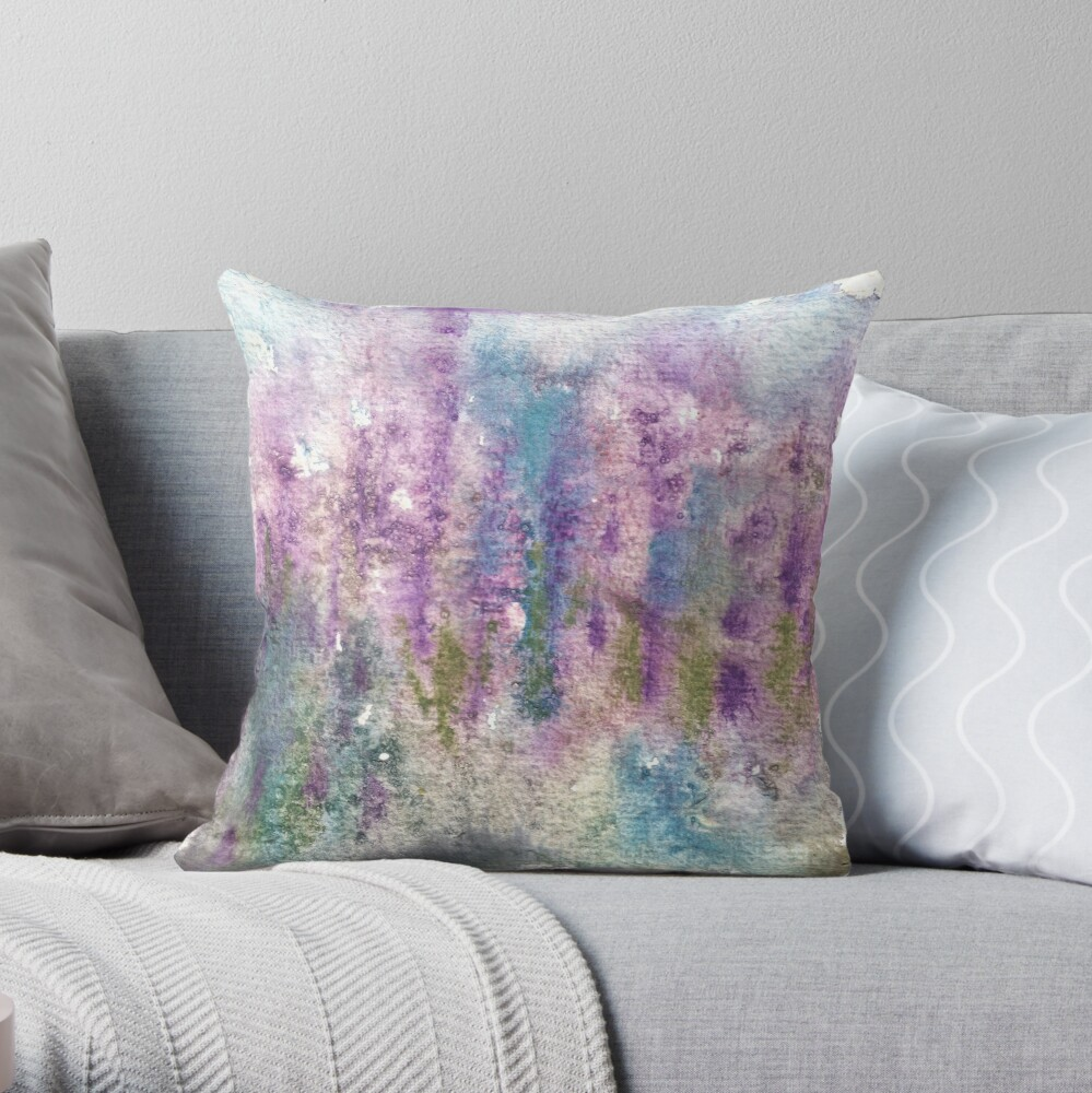 Watercolor abstract lupine field in New Zealand Throw Pillow