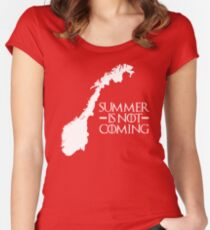 Summer is NOT coming - norway(white text) Women's Fitted Scoop T-Shirt
