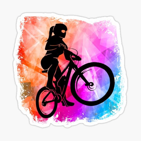 Mountain biker cool colors girl bike Sticker