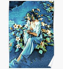 GIRL AND FLOWERS 7D Poster