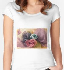 Raffia Roses on Hat  Women's Fitted Scoop T-Shirt
