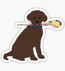 Pegatina Preppy Chocolate Lab Perro de lacrosse