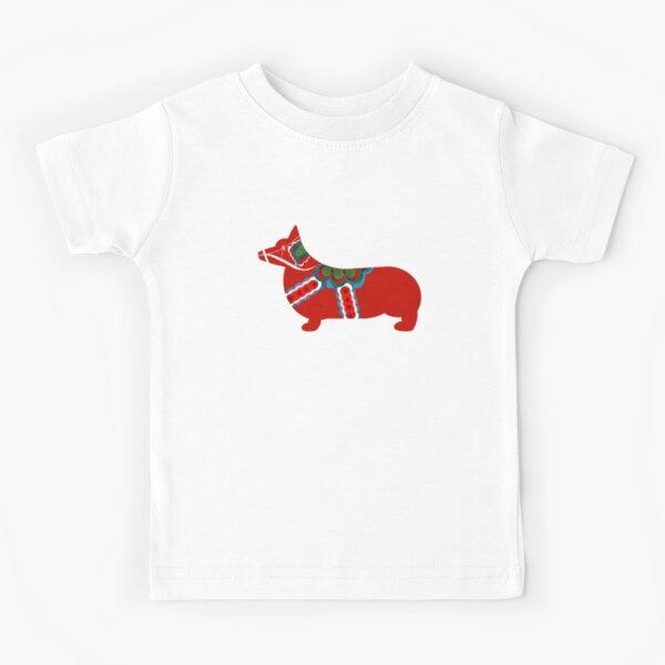 Dala Corgi - Swedish Dala Horse Kids T-Shirt