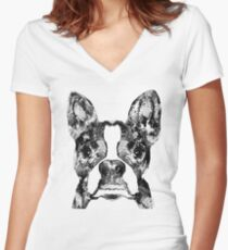Boston Terrier Dog Black And White Art - Sharon Cummings Women's Fitted V-Neck T-Shirt
