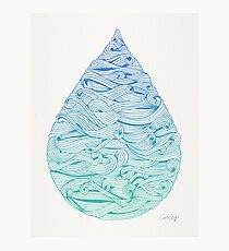 Water Drop – Blue Ombré Photographic Print