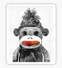 Sock Monkey Art In Black White And Red - By Sharon Cummings Sticker