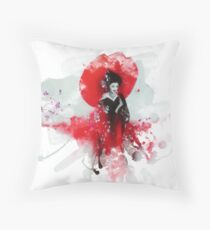 Japanese Geisha Abstract Throw Pillow