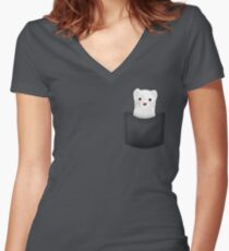 pocket ferret Women's Fitted V-Neck T-Shirt