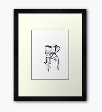 tv head drawing Framed Print