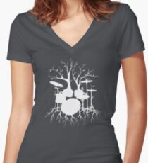 """Live the Beat to the Tempo of Creation"" ~ drum tree art , version1 Women's Fitted V-Neck T-Shirt"