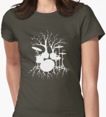 """""""Live the Beat to the Tempo of Creation"""" ~ drum tree art , version1 Women's Fitted T-Shirt"""