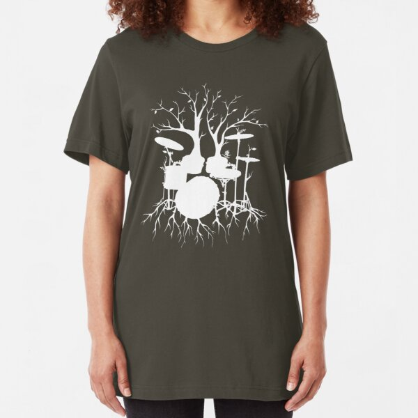 """""""Live the Beat to the Tempo of Creation"""" ~ drum tree art , version1 Slim Fit T-Shirt"""