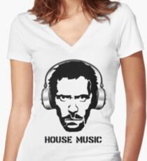 Dr House Music Women's Fitted V-Neck T-Shirt
