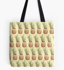 pineapple pattern on a light yellow background Tote Bag