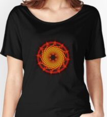 Merkaba Spiral Mandala Red   ( Fractal Geometry ) Women's Relaxed Fit T-Shirt