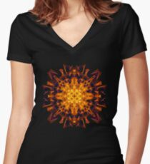 Energetic Geometry - Abstract Solar Power Symbol Women's Fitted V-Neck T-Shirt
