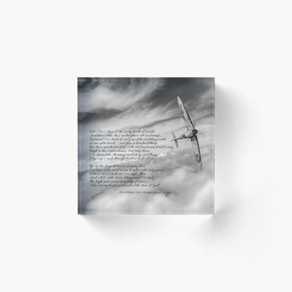 High Flight Spitfire solo B&W version Acrylic Block