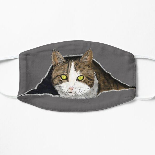 Tabby cat peeking out Mask