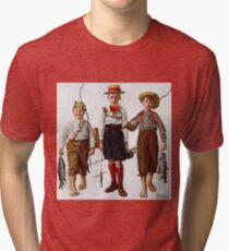 Norman Rockwell  - Catch, The  . Fishers Tri-blend T-Shirt