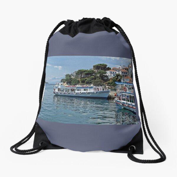 Boats Of Skiathos, Greece Drawstring Bag