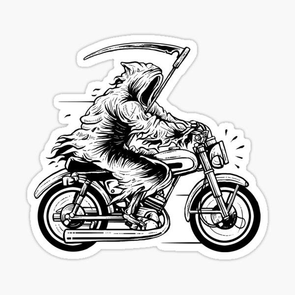 Reaper on a Motorcycle  Sticker