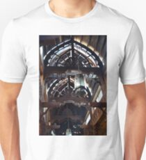 Wooden interior with arch ceiling and lamps. Unisex T-Shirt