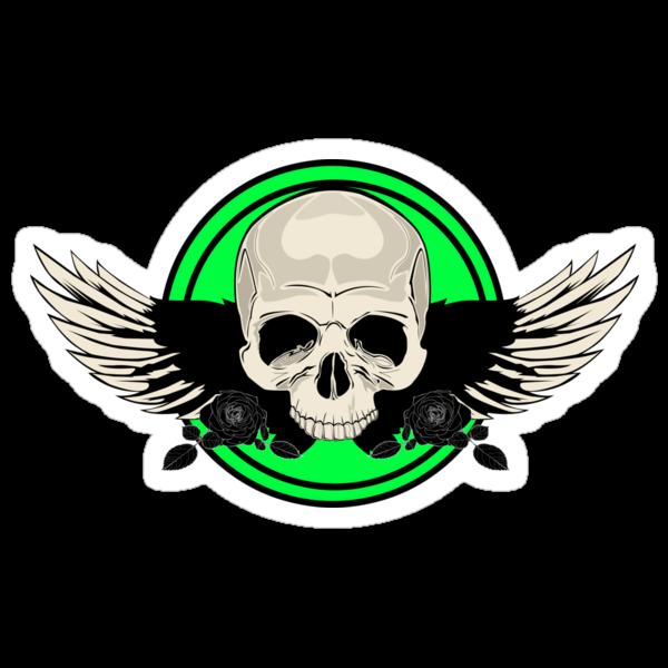 Wing Skull - GREEN by Adamzworld