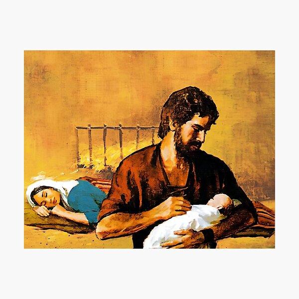 St. Joseph holds baby Jesus while Mary sleeps. Photographic Print