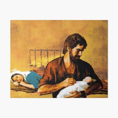 St. Joseph holds baby Jesus while Mary sleeps. Art Board Print