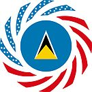 Saint Lucian American Multinational Patriot Flag Series by Carbon-Fibre Media