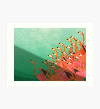 Fresco of the flamingoes Art Print