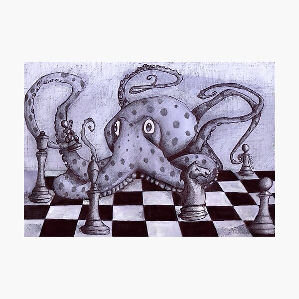 An Octopus Playing Chess Photographic Print