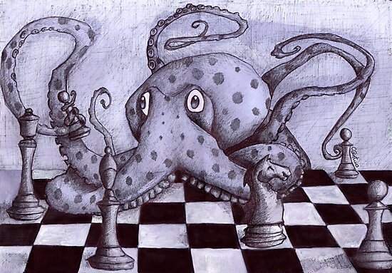 An Octopus Playing Chess by Cantus