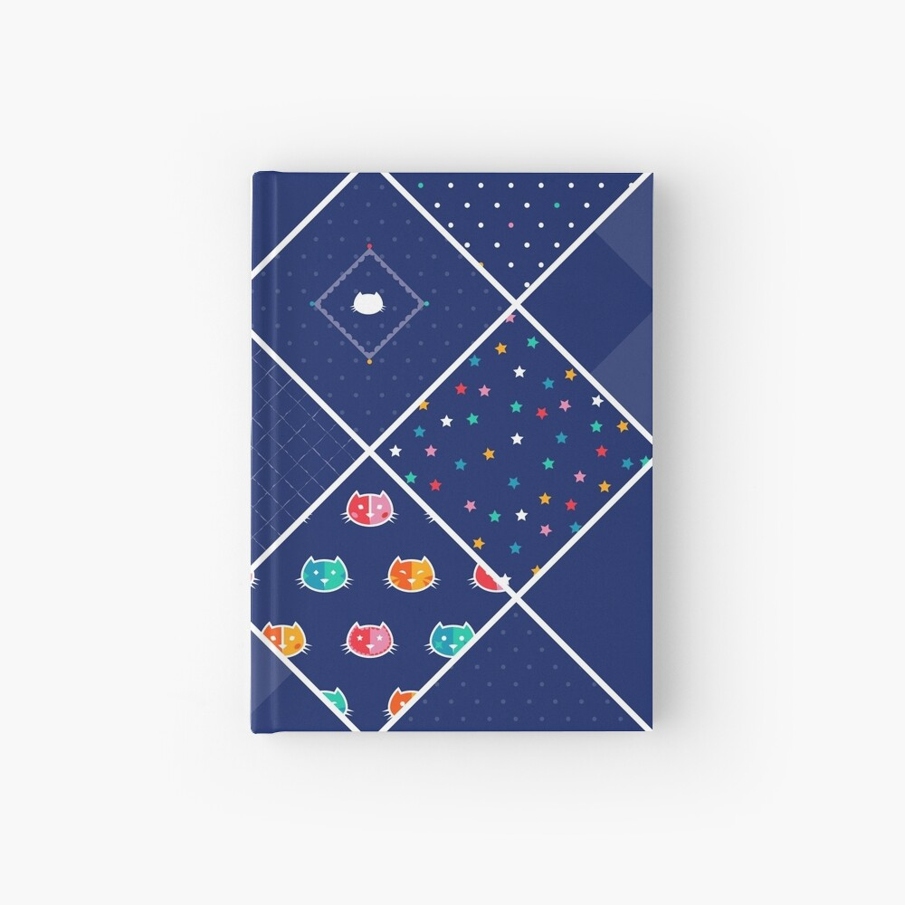 Chromatic cats patchwork Hardcover Journal