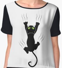 Funny Black Angry Cat T-Shirt I Love Cats Cute Graphic Tee  Chiffon Top