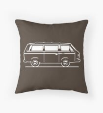 Drive by Bus 3 (white, only) Throw Pillow