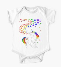 Gay Pride Unicorn Spewing Rainbows & Stars Short Sleeve Baby One-Piece