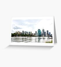 Brisbane City Skyline by Gaye G Greeting Card