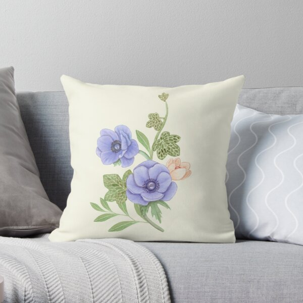 Anemonies and Ivy Vines Throw Pillow