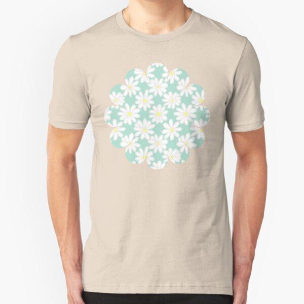 Bright Happy Daisies on Mint Slim Fit T-Shirt