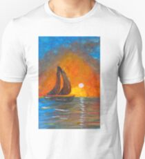 A boat sailing against a vivid colorful sunset  T-Shirt