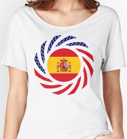 Spanish American Multinational Patriot Flag Series Relaxed Fit T-Shirt
