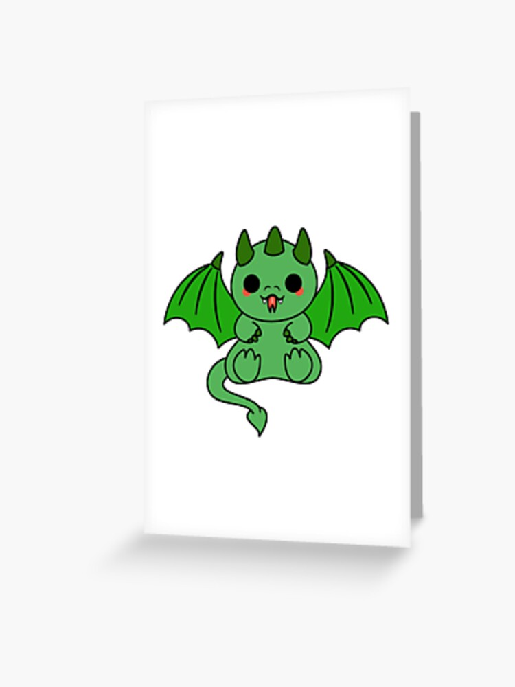 Carte De Vœux Dragon Kawaii Par Iceyuk Redbubble