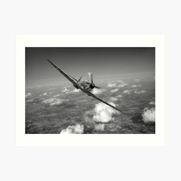 Battle of Britain Spitfire black and white version Art Print