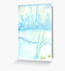 Foggy winter landscape frosty morning Greeting Card