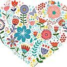 Cute Colorful Flowers Heart Illustration by artonwear
