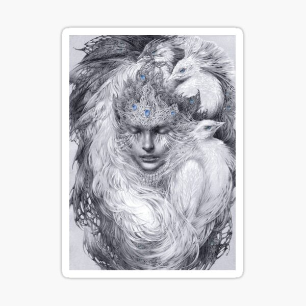 Fairy lady with white peacocks. Sticker